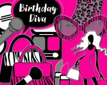 Diva Photo Booth Props, Printable Photo Props, Pink Birthday Party Supplies, Fashion Diva Party Printable Photo Booth Props INSTANT DOWNLOAD