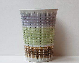 "Denby ""Burlington"" multi-coloured tall planter/vase by Glyn Colledge."