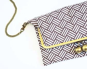 """Bag """"Jules"""" - large model - color graphic Brown and white - fabric designer US"""