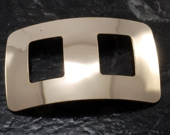 Vintage 60's Nemo Scarf Sash Buckle Rectangle Gold Tone Metal Accessory New Old Stock