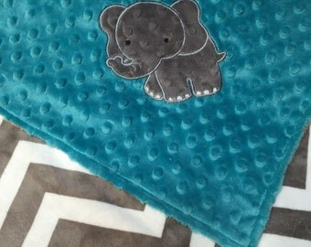 Minky Baby Blanket, Grey Chevron Minky, Teal Dimple Dot, Elephant Appliqué Blanket