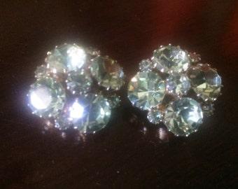 Weiss Seafoam Green Crystal Clip-On Earrings
