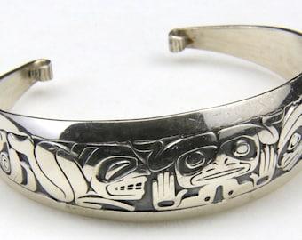 Sterling Silver Haida Cuff Bracelet Emerging Mankind Signed Barry Herem Native