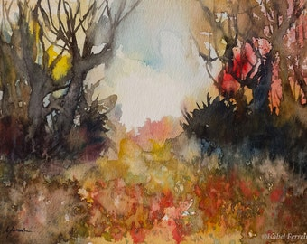Original forest watercolor  painting, RED AUTUMN, tree painting forest, Autumn,Fall,red, ochre, expressive art