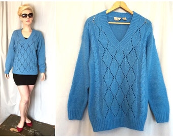 Vintage Blue Sweater Turquoise Cable Knit Long Sleeve size MEDIUM Wool Acrylic Blend