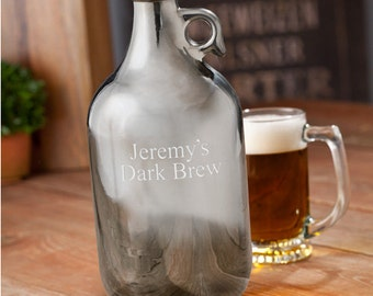 Engraved Gunmetal Beer Growler - Craft Beer Growler - Personalized Growler - Gifts for Him - Groomsmen Gifts - GC1251