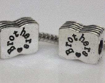 Brother Charm European Bead Charm For Snake Chain for snake charm bracelets