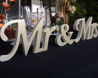 Express delivery option available for  Mr & Mrs sign. Glittered, freestanding, Mr. and  Mrs. letters wedding table decoration
