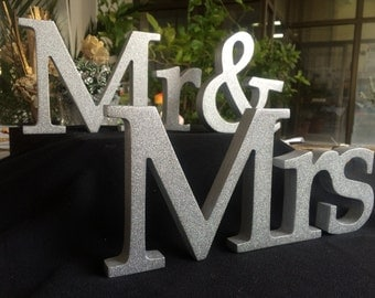 Letters wood wedding signs Mrs and Mr in silver glitter Mr and Mrs in gold Wedding Mr and Mrs signs in champagne