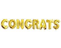 """CONGRATS GOLD FOIL Balloons - Gold Foil Alphabet Balloon Combo Set """"Congrats"""" (35cm / 14"""")"""