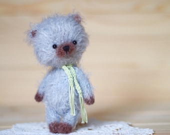 ooak 4 inches miniature Teddy bear Blythe friend, artist teddy bears, crochet teddy bear, ooak bear, crochet bear, gift for her, ooak bear