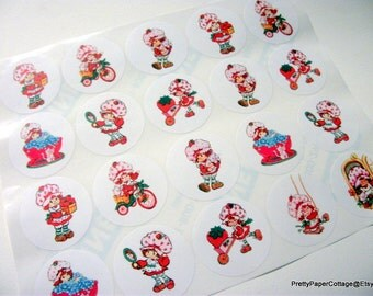Vintage, Strawberry Shortcake, Stickers, Baby Shower, Birthday Party, Favor Bag Stickers, (30) 1.5 inch, (30) 2 inch