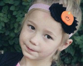 Pumpkin Headband for Girls - Baby Halloween Headband - Thanksgiving Headband Photo Prop - Toddler Headband - Autumn Head Band for Girl