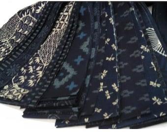 "40 Japanese Traditional Indigo Fabrics - 2 1/2"" Dragon Roll Strips"
