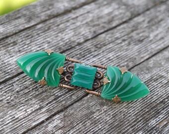 Vintage Art Deco Chrysoprase Green Brass Brooch