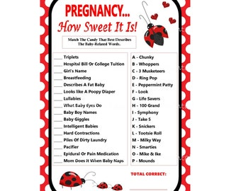 Ladybug Pregnancy Candy Game, Ladybug Baby Shower How Sweet It Is, Candy Bar Game, Candy Match Game, Baby Candy Game -Printables 4 Less 0052