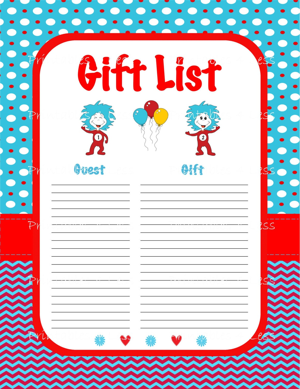 Baby Gift List Ireland : Dr seuss gift list baby shower printable guest
