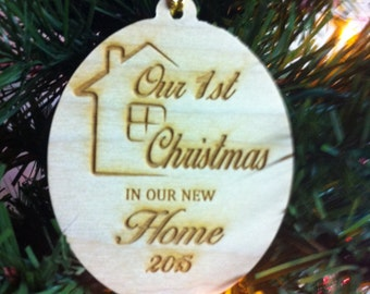Our First Christmas In Our New Home Rustic Wood Christmas Ornament
