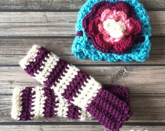 Newborn Legwarmers with Matching Hat