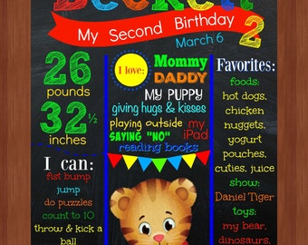 Daniel Tiger 2nd Birthday Chalkboard File - COLORFUL - Daniel Tiger - Second Birthday - Printable - Tiger - Birthday Chalkboard - CUSTOM
