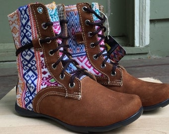 Guatemalan embroidered textiles, high boots, handmade
