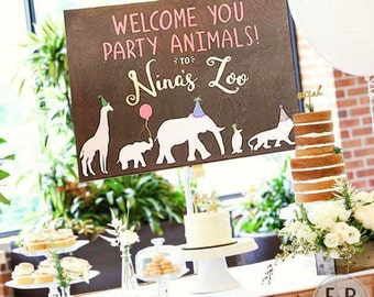Zoo Party Custom Sign, Birthday. Welcome Party Animals!