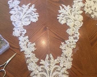 Lace Swatch, Beaded Lace Veil, Custom Veil, Lace Veil, Drop Veil, Mantilla,Royal Veil, Wedding Veil, Bridal Veil, Veil- THERESA VEIL