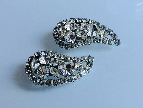 Rhinestone Paisley Earrings circa 1960s