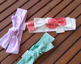 Top Knot Headbands: Red hearts, pink spots and mint aztec - Set of 3