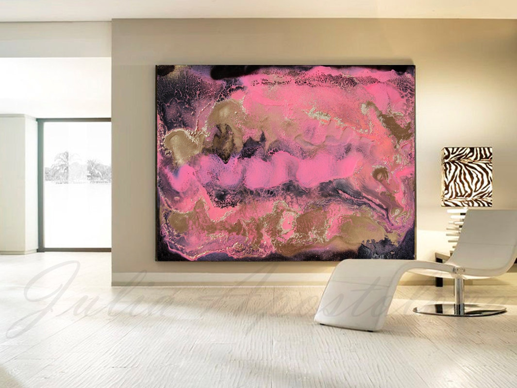 Pink Abstract Canvas Art: Large Pink Painting Abstract Print Gold Black And Pink