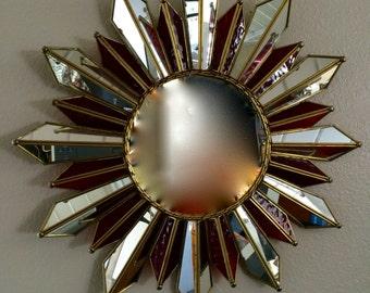 Extraordinary Sunburst Mirror 1950s Mid Century Modern Soleil with Red Glass