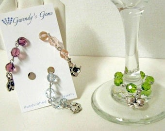 Cat wine glass charms - set of 4 - WGC-062