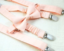 Ice Peach bow tie and Suspender Set for baby/toddler/teen/adult/Men