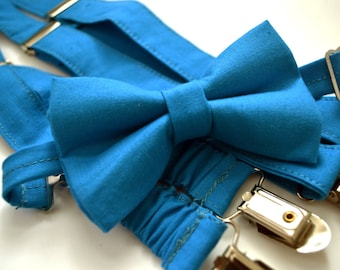 Malibu blue bow tie and Suspender Set for baby/toddler/teen/adult/Men