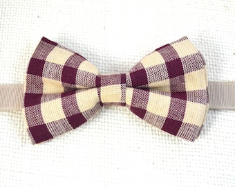 B015 Burgandy and Tan Gingham Boy's bow tie/Toddler/Teen/Adult
