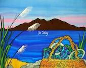 "Kapiti Island, Wellington - beautiful art print by New Zealand artist Jo May, fits 10""x8"" frame, matted in white, full gloss, wrapped, #1084"