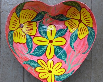 Haitian Heart Handmade Paper Mache Bowl