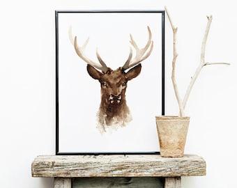 Deer Watercolor Painting, Deer Antlers Art Print, Mens Gift Idea, Brown Wall Decor, Deer Head Animal Poster, Rustic Home Decor