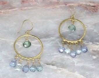 SALE 20% OFF gold green amethyst blue and purple quartz earrings, large chandelier earrings, mystic quartz earrings, boho earrings, blue gre