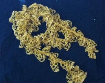 Gold Sashay Ruffle Scarf, Christmas Scarf, Ready to Ship, Women's Fashion, Scarf with Ruffles