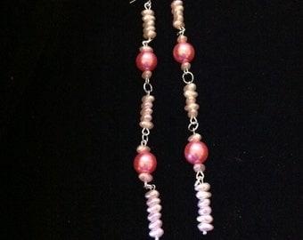 """Pink Beaded Earrings, 5.5"""" Long Earrings, Pink Earrings, Beaded Earrings, Long Dangle Earrings, Ready to Ship"""