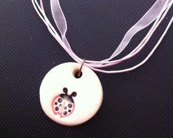 Lady Bug Choker Necklace, Choker Style Necklace, Pink Choker Necklace, Lady Bug Necklace, Porcelin Lady Bug Charm, Lady Bug Necklace