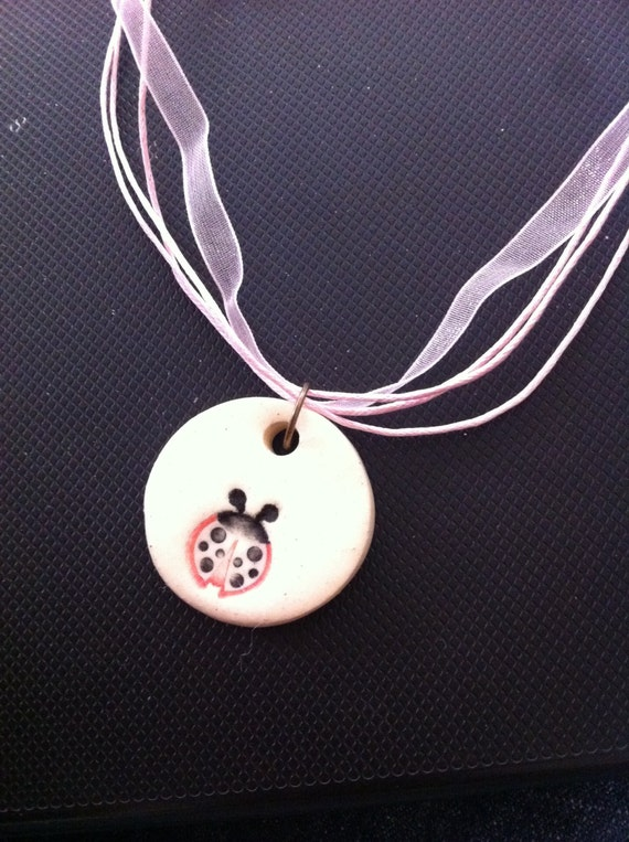 Lady Bug Choker Necklace, Choker Style Necklace, Pink Choker Necklace, Lady Bug Necklace, Porcelin Lady Bug Charm, Lady Bug Necklace