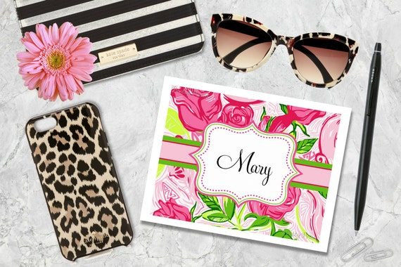 Personalized Note Cards - Pink Floral Print - Note Cards - Personalized Stationery - Notecards - Thank You Notes - Personal Note Cards