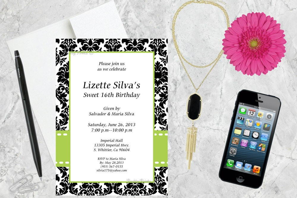Wedding Shower Invitations, Baby Shower Invitations, Damask ...