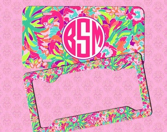 monogram license plate monogram lilly pulitzer inspired car tag frame personalized car tag monogram license plate frame