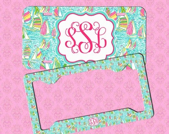 custom license plate frame monogram lilly pulitzer inspired car tag frame personalized car tag monogram license plate frame