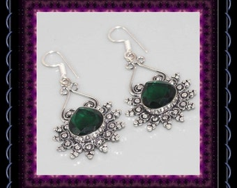 Faceted Chrome Diopside Vintage Style Earrings