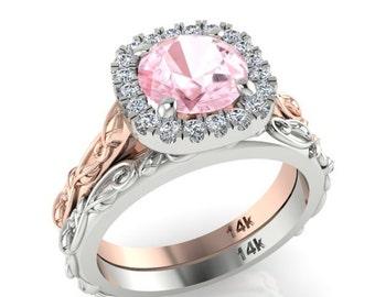 vine and filigree wedding rings set engagement ring with perfect wedding matching band diamond - Bohemian Wedding Rings