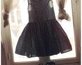 RoseCorps // summer dress S // black heart white cotton sleevless cute polka